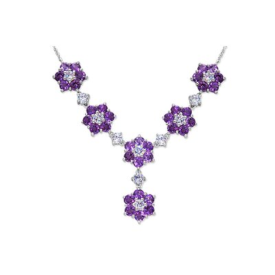 Flower Design 9.00 carats Round Shape Amethyst and White CZ Gemstone Necklace in Sterling ...