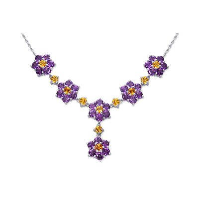 Flower Design 11.75 carats Round Shape Multi-Gemstone Necklace in Sterling Silver