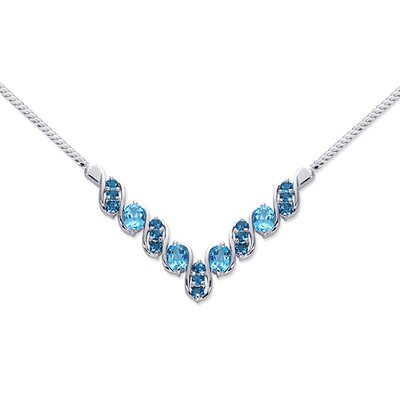 Trendy 5.75 carats Oval and Round Shape Multi-Gemstone Necklace in Sterling Silver
