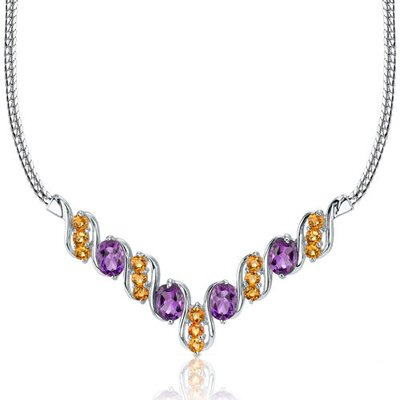 Oravo Trendy 4.50 carats Oval and Round Shape Multi-Gemstone Necklace in Sterling Silver