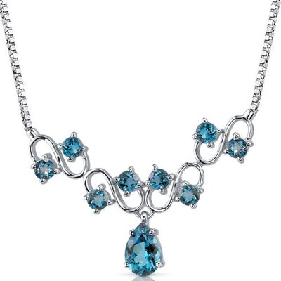 4.50 carats Pear and Round Shape London Blue Topaz Multi-Gemstone Necklace in Sterling Silver