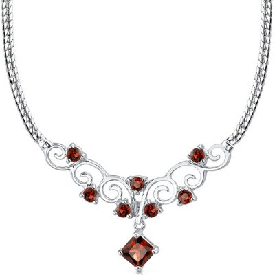 2.00 carats Princess Cut and Round Shape Garnet Multi-Gemstone Necklace in Sterling Silver
