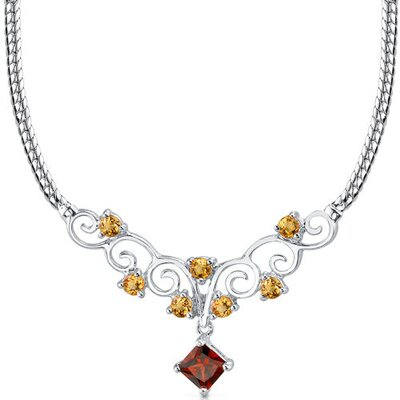 1.50 carats Princess Cut and Round Shape Garnet and Citrine Necklace in Sterling Silver