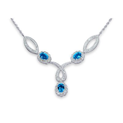 Oravo Antique Style 3.00 Carats Oval Shape London Blue Topaz and White CZ Gemstone Necklace in Sterling Silver