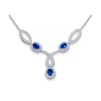 Antique Style Oval Shape Created Sapphire and White CZ Pendant Necklace in Sterling Silver