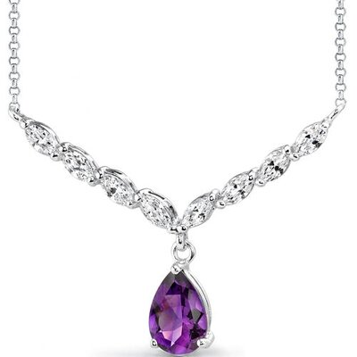 Luminous Beauty 2.25 carats Pear Shape Amethyst and White CZ Gemstone Necklace in Sterling ...