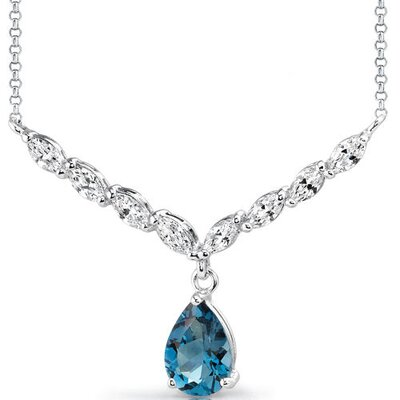 Oravo Luminous Beauty 3.00 carats Pear Shape London Blue Topaz and White CZ Gemstone Necklace in Sterling Silver