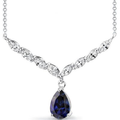 Luminous Beauty Pear Shape Sapphire and White CZ Gemstone Necklace in Sterling Silver