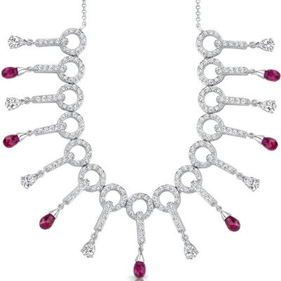 Oravo Dainty Chic Briolette Drop Ruby and White CZ Gemstone Necklace in Sterling Silver