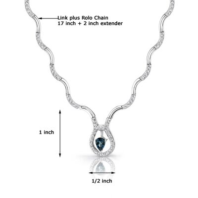 Oravo Stunningly Beautiful 0.75 carat Pear Shape London Blue Topaz and White CZ Gemstone Necklace in Sterling Silver