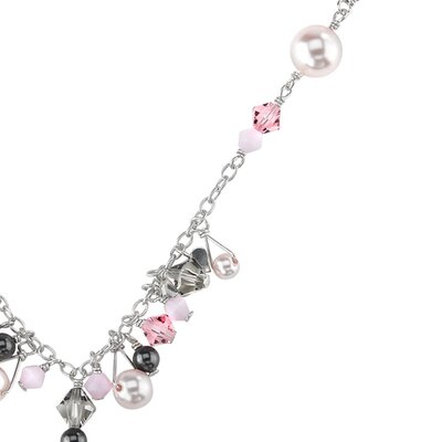 Oravo Cross My Heart Sterling Silver Charm Necklace with Pink Swarovski Crystals and Cultured Pearls