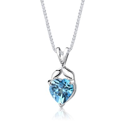 3.00 cts Heart Shape Swiss Blue Topaz Pendant in Sterling Silver