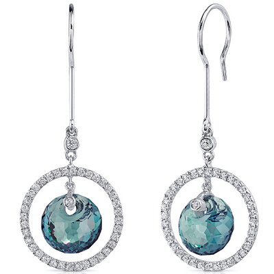 Spherical Cut Gemstone Circle of Life Dangle Earrings