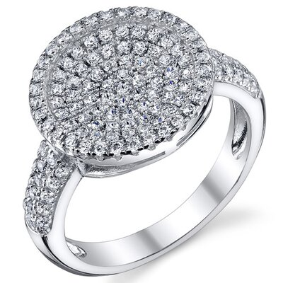 Sterling Silver Rhodium Finish CZ Circle Design Pave Set Ring