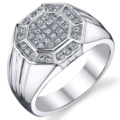 Sterling Silver Rhodium Finish Cubic Zirconia Mens Classy Ring