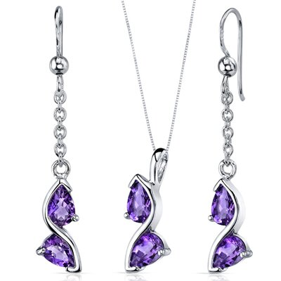 Oravo Pear Shape Gemstone Artistic Pendant Earrings Set