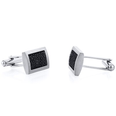 Titanium Black Bubble Texture Rectangular Brushed Finish Men's Cufflinks