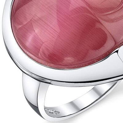 Oravo Cat's Eye Sterling Silver Round Fuchsia Ring