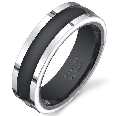 Men's Tungsten Ceramic Two-Tone Rounded Center Wedding Band