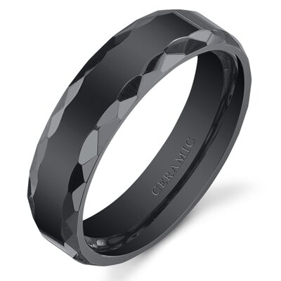 Oravo Ceramic Faceted Edge Wedding Band