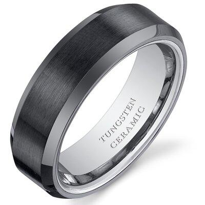 Men's Brushed Center Tungsten Ceramic Beveled Edge Wedding Band