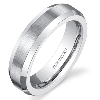 Brushed Center Tungsten Beveled Edge Wedding Band