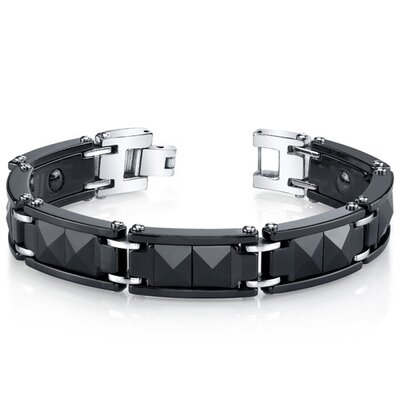 Oravo Men's Black Ceramic and Stainless Steel Pyramid Faceted Stud Bracelet