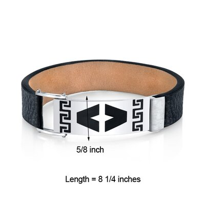 Oravo Men's Greek Key Black Genuine Leather and Stainless Steel Bracelet