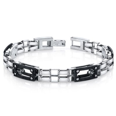 Men's Intricate Double Chain Design Stainless Steel Bracelet