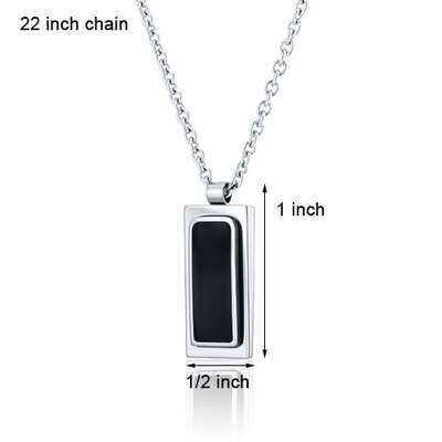 Oravo Simplistic Black Center Polished Finish Stainless Steel Dog Tag Style Pendant