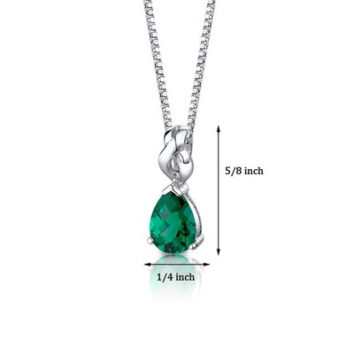 "Oravo Pear Shape Checkerboard Cut Emerald Pendant with 18"" Necklace"