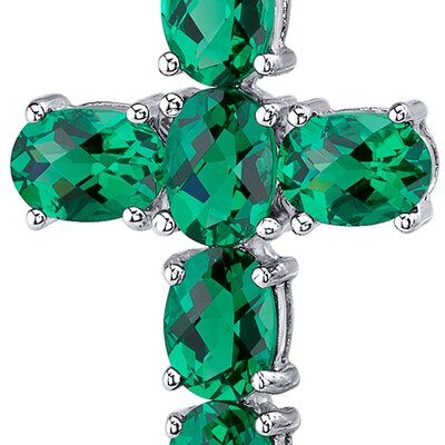 "Oravo 4.50 Carats Oval Cut Emerald Cross Pendant with 18"" Necklace"