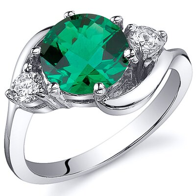 3 Stone Design 1.75 Carats Round Cut Emerald Ring
