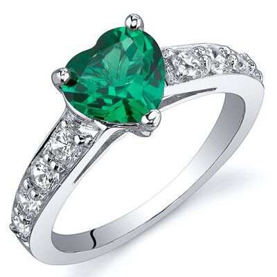 Dazzling Love 1 Carat Heart Cut Emerald Ring