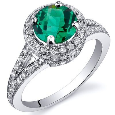 Majestic Sensation 1.25 Carats Round Cut with Checkerboard Top Emerald Ring