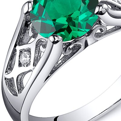 Oravo Cathedral Design 1.25 Carats Round Cut Emerald Solitaire Ring