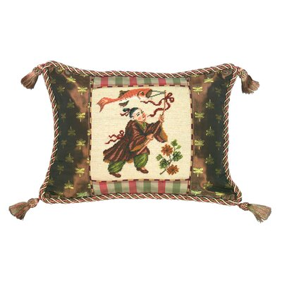 Chinese Boy with Kite 100% Wool Petit - Point Pillow with Fabric Trimmed