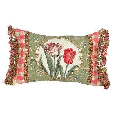 123 Creations Tulip 100% Wool Petit - Point Pillow with Fabric Trimmed