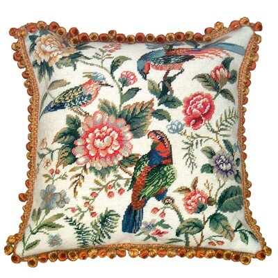 Canton Garden 100% Wool Needlepoint Pillow