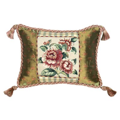123 Creations Rose 100% Wool Petit - Point Pillow with Fabric Trimmed