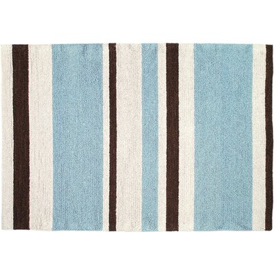 Blue/Brown Striped Hook Rug
