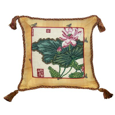 Lotus 100% Wool Needlepoint Pillow with Fabric Trimmed
