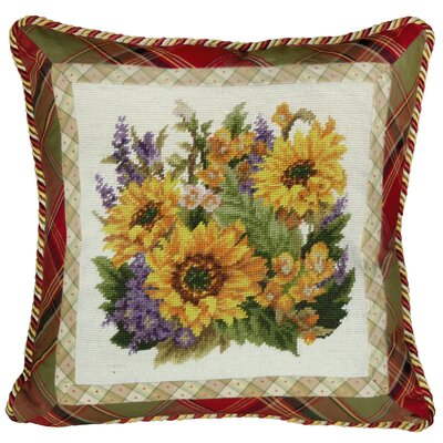 Sunflower 100% Wool Needlepoint Pillow with Fabric Trimmed