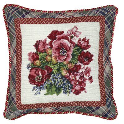Pansy 100% Wool Needlepoint Pillow with Fabric Trimmed