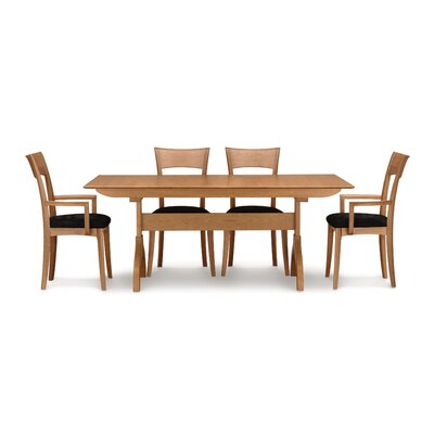 "Copeland Furniture Sarah 5 Piece Trestle Table Set with 90"" Extension"