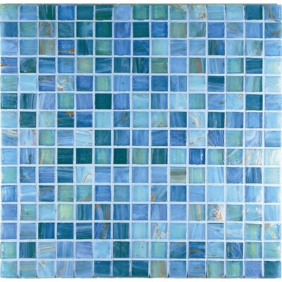"Casa Italia 13"" x 13"" Glass Mosaic in Mix Aquamarine"