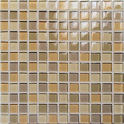 "Casa Italia Crystal-C 11.75"" x 11.75"" Glass Mosaic in Mix Beige Gloss"