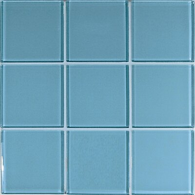 "Casa Italia Crystal-A 4"" x 4"" Glass Mosaic in Glossy Light Blue"