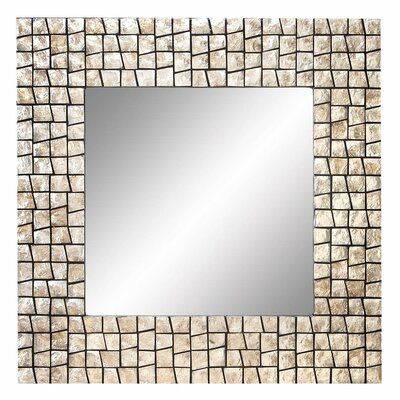 "Aspire 32"" Capiz Shell Square Wall Mirror"