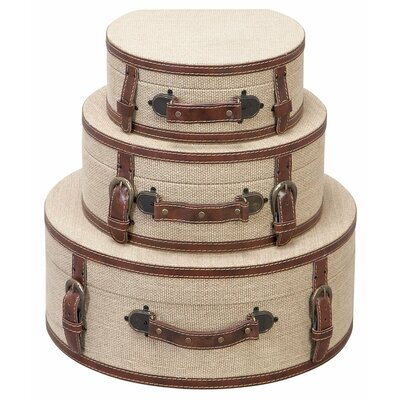 Round Burlap Decorative Suitcases (Set of 3)